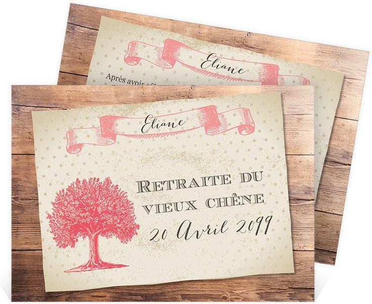 Carte Invitation Départ À La Retraite Un Beau Chêne pour Invitation Depart Retraite Humour
