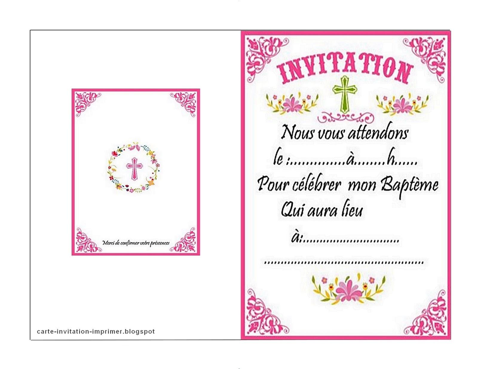 Carte-Invitation-Imprimer-Gratuit: Carte Invitation intérieur Invitations Bapteme