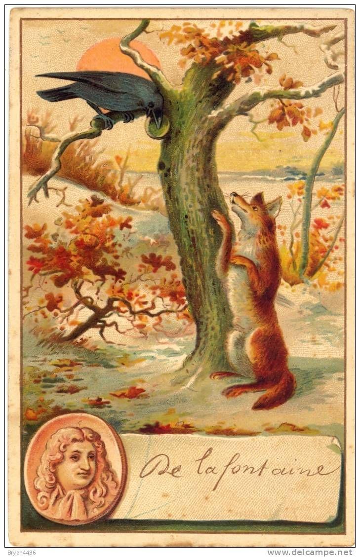 """Carte Jean De Lafontaine Et Illustration Par La Fable """" Le serapportantà Illustration Le Corbeau Et Le Renard"""