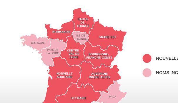 Carte. Les Noms Des 13 Nouvelles Régions Officiellement pour Nouvelles Régions De France 2017