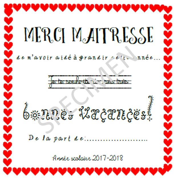 Carte Merci Maîtresse (Maître) encequiconcerne Poeme Pour Maitresse D Ecole