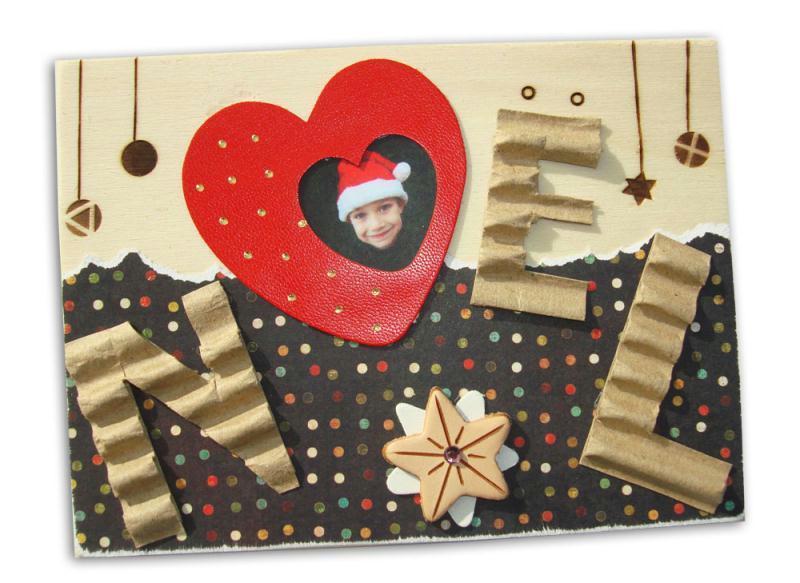 Carte Noel Avec Photo Embellie Et Pyrogravée - Idées encequiconcerne Modele Carte De Noel A Fabriquer