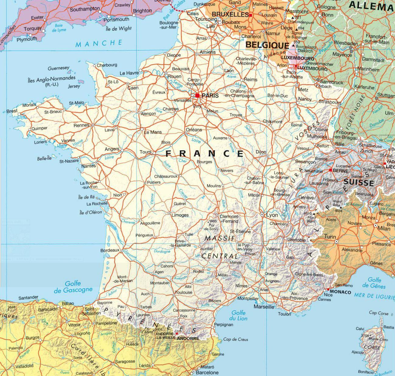 Carte Routiere : Carte Des Routes De France, Calcul D serapportantà Grande Carte De France À Imprimer