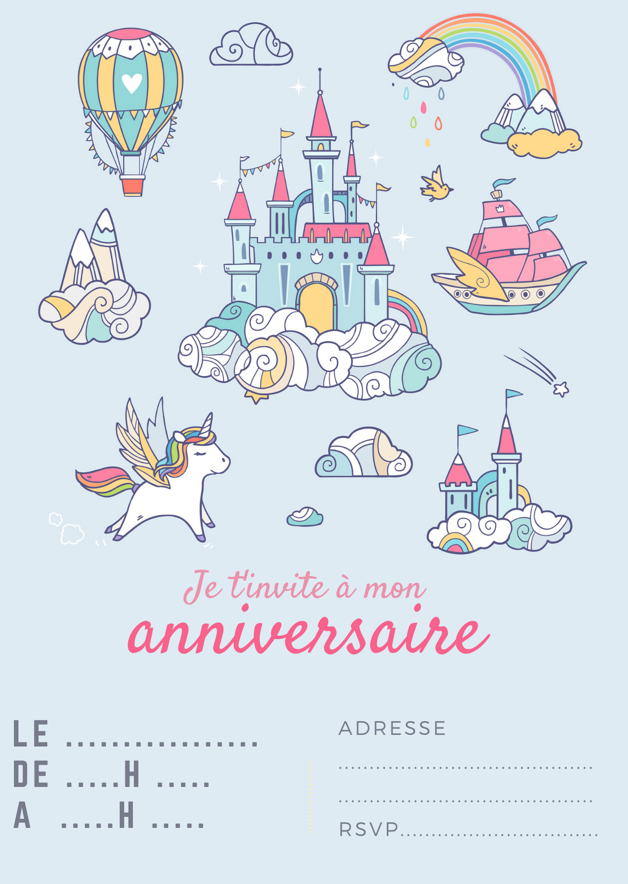 Cartes D'Invitation Pour Des Anniversaires De Licorne dedans Invitation Anniversaire Carte D Embarquement