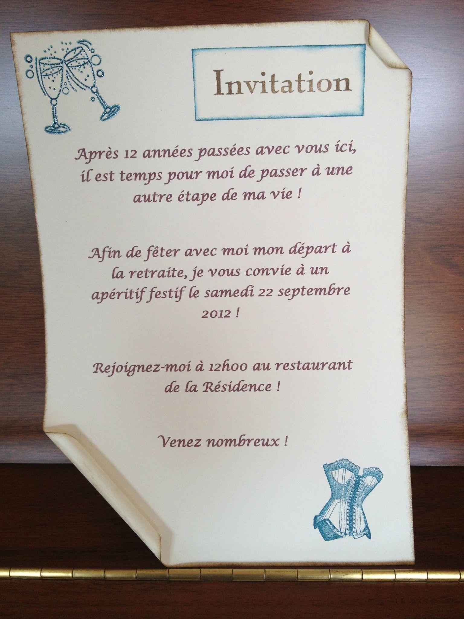 Cartes Et Affiches D'Invitation - Le Blog De Roxy à Invitation Pour La Retraite