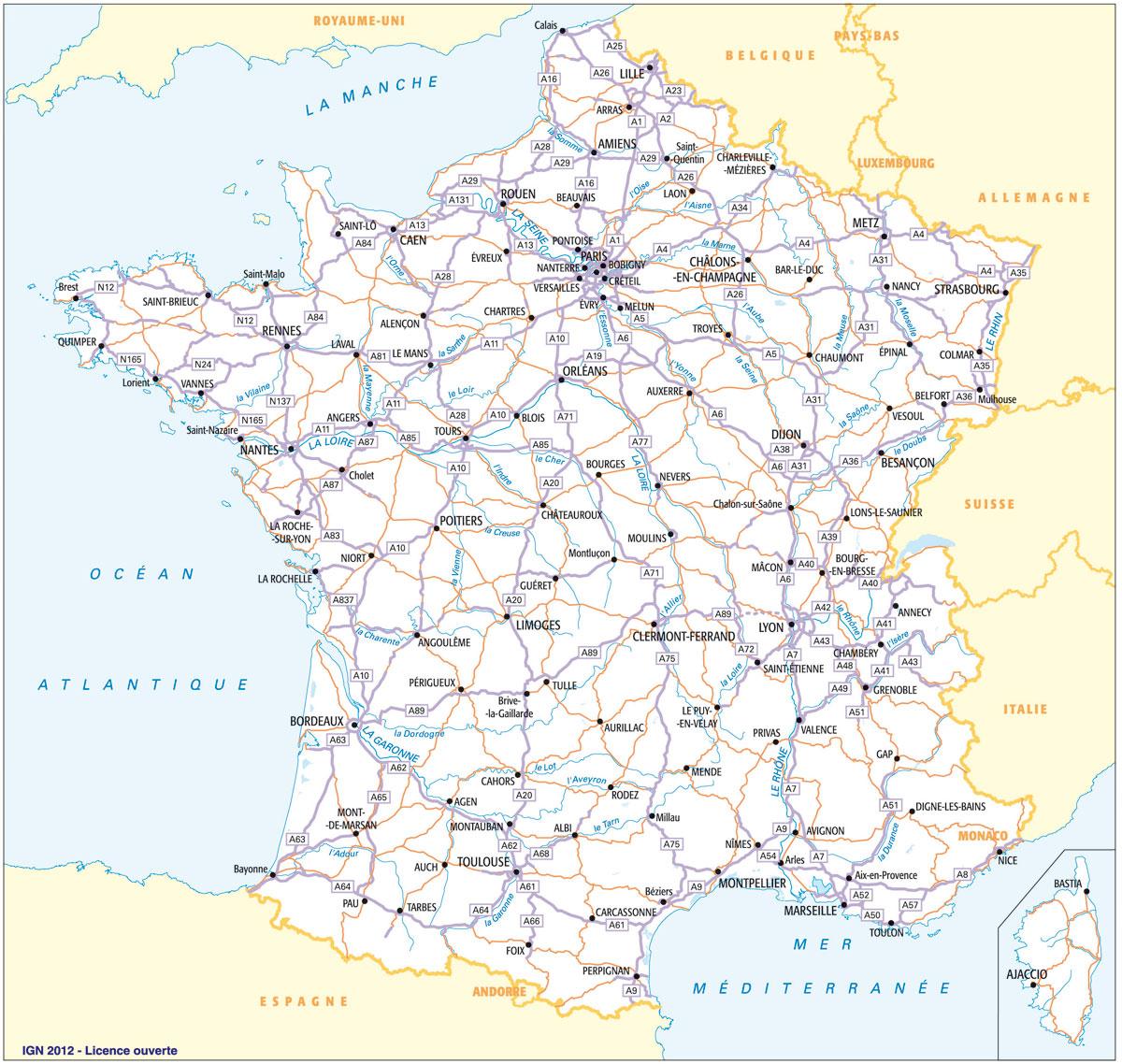 Cartograf.fr : Carte France : Page 3 encequiconcerne La Carte Des Départements De France