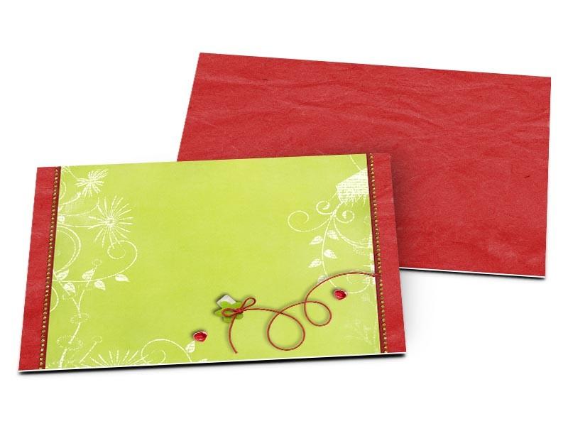 Carton D'Invitation Mariage - Cercles Rouges Sur Fond Vert pour Impression Carton Invitation