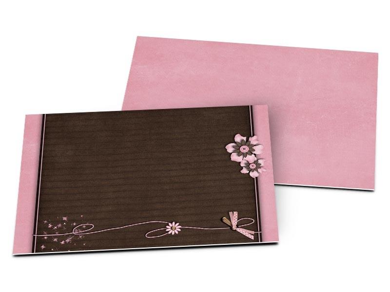 Carton D'Invitation Mariage - Ruban Rose Sur Fond Chocolat tout Impression Carton Invitation