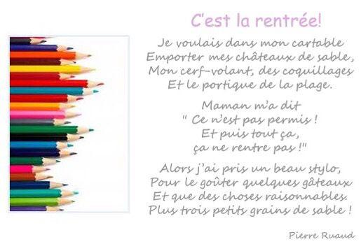 C'Est La Rentrée - Pierre Ruaud | Jeux Ecole, Stylo, Beau pour Poésie C Est La Rentrée
