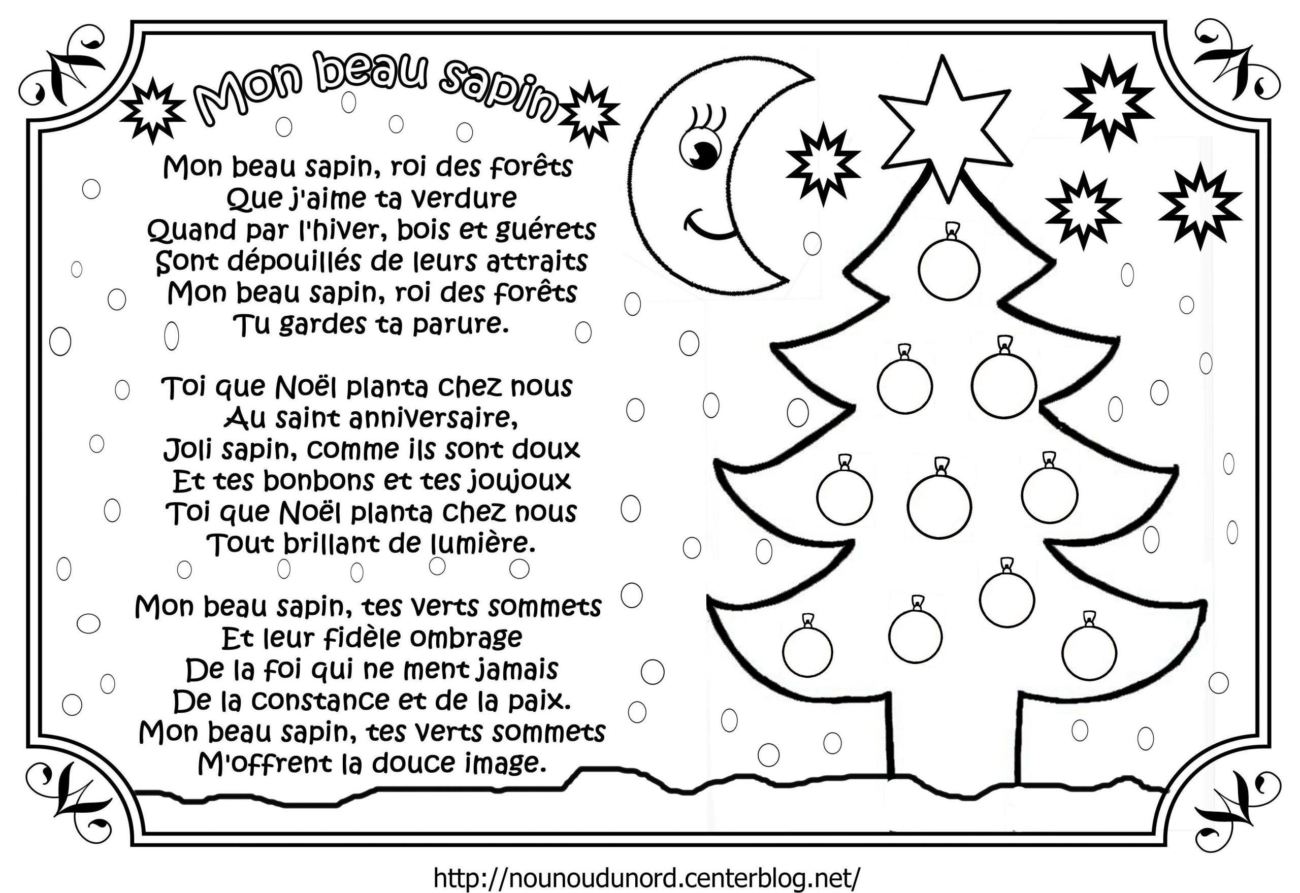 Chanson Mon Beau Sapin Illustrée intérieur Petit Papa Noel Paroles A Imprimer