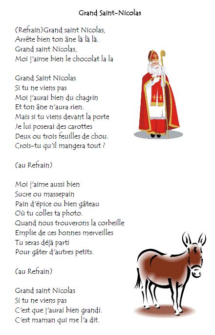 Chant De Noel Saint Nicolas destiné Poésie Le Père Noël Est Enrhumé