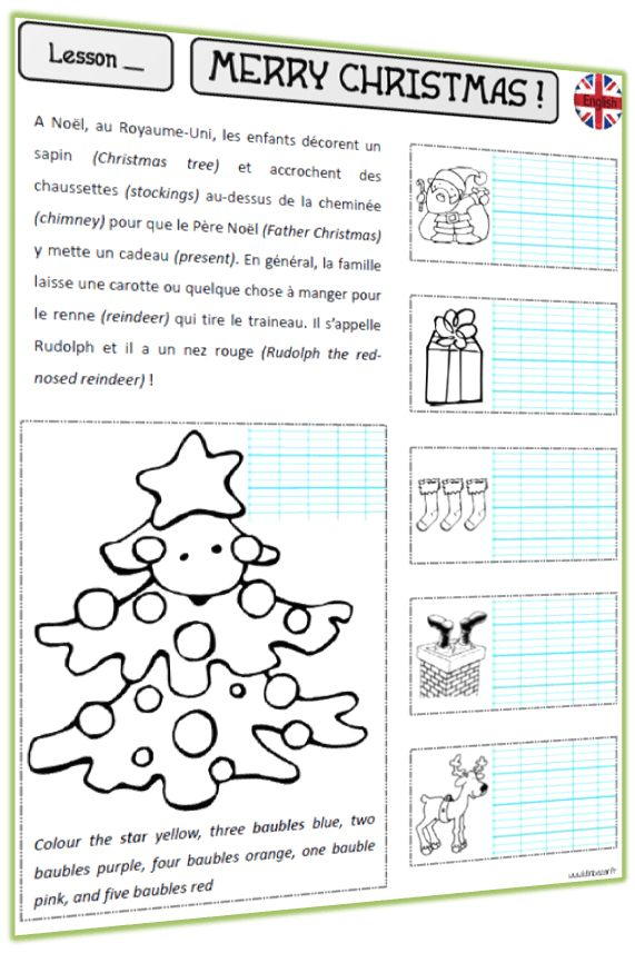 Christmas   Anglais Ce2, Anglais Enfant, Enseigner L'Anglais intérieur Fiches Anglais Ce2
