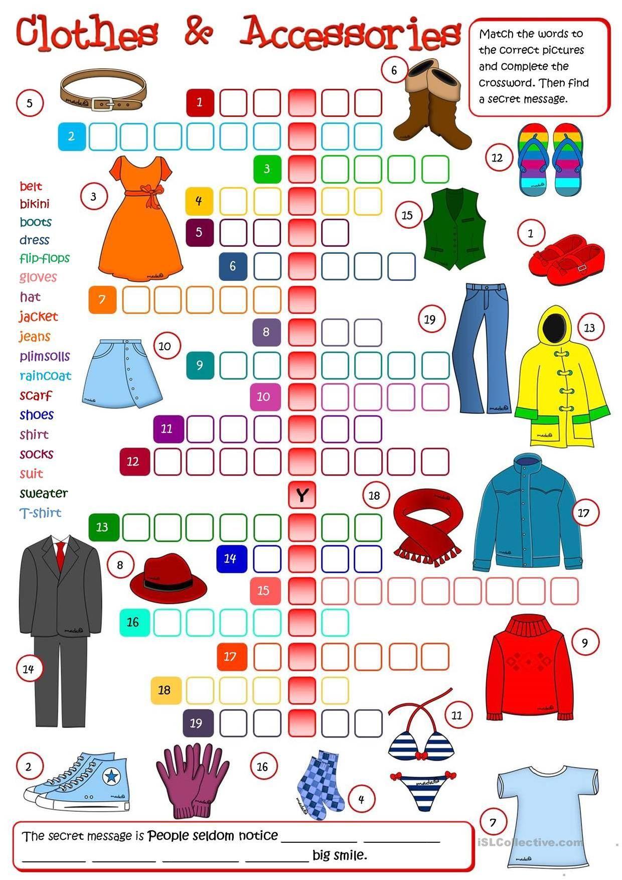 Clothes Crosswords 2 | Apprendre L'Anglais, Enseigner L dedans Jeux En Anglais Gratuit