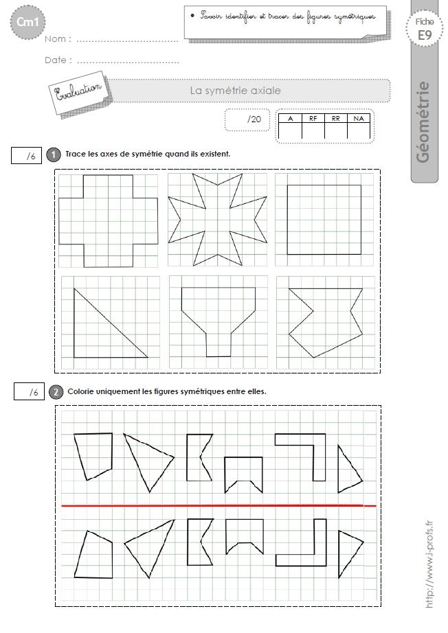 Cm1: Evaluation La Symetrie Axiale destiné Exercice Symétrie Axiale Ce2
