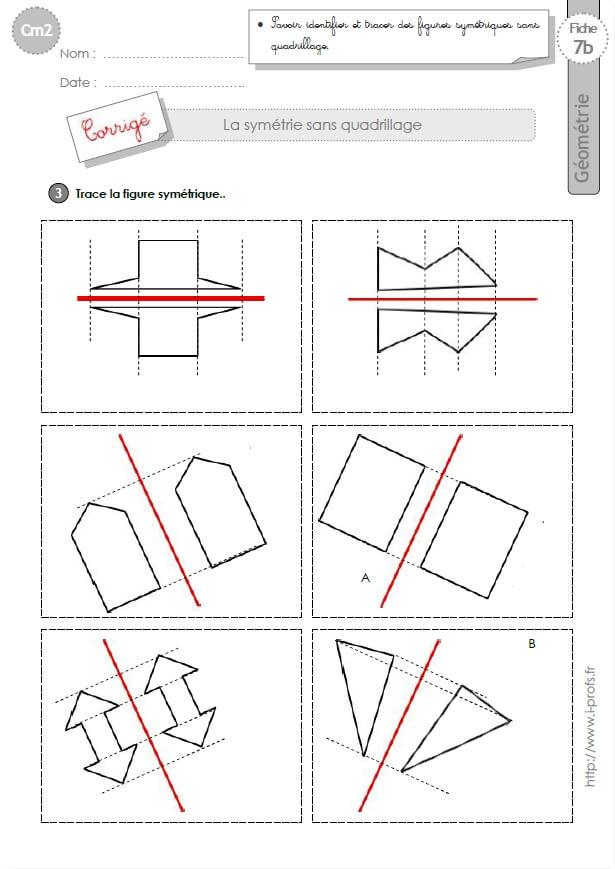 Cm2: Exercices La Symetrie Axiale Sans Quadrillage Figures concernant Exercice Symétrie Axiale Ce2