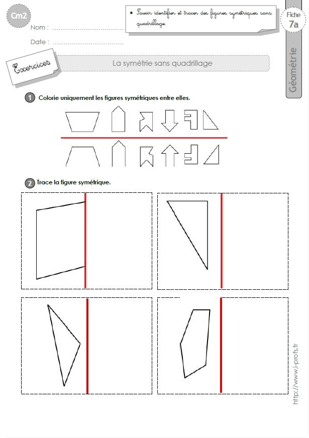 Cm2: Exercices La Symetrie Axiale Sans Quadrillage Figures destiné Symétrie A Imprimer