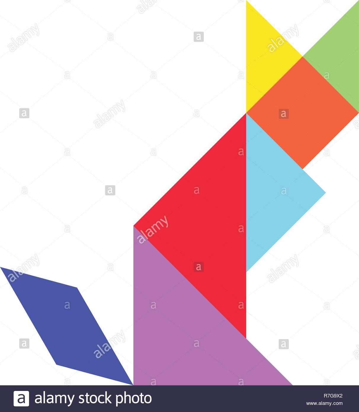 Colorful Tangram Puzzle In Cat Shape On White Background encequiconcerne Tangram Chat
