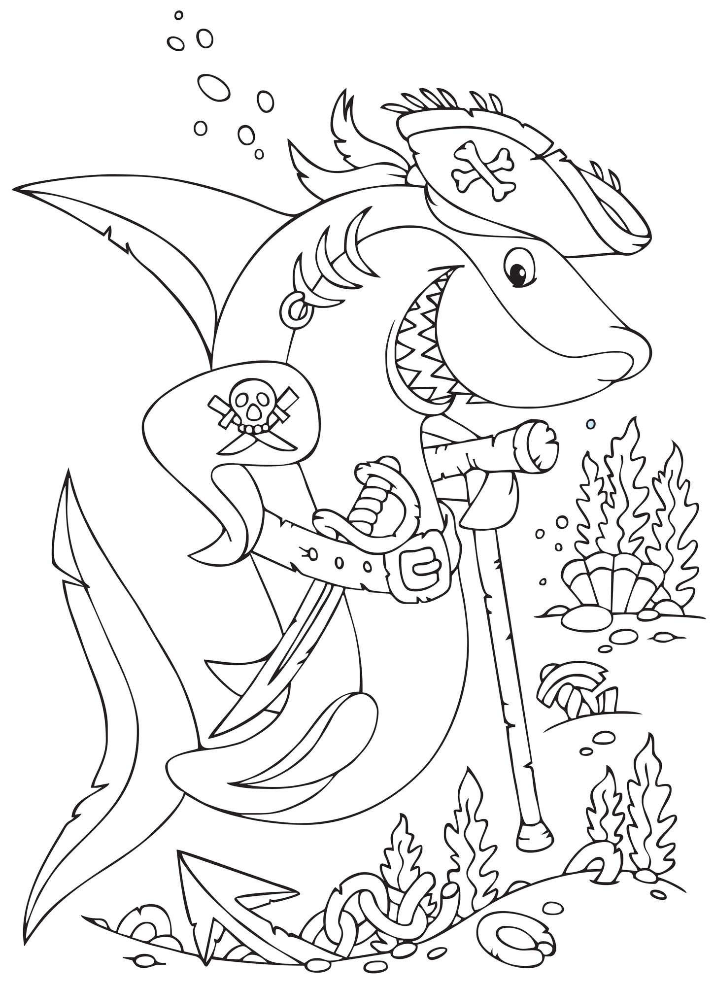 Coloriage À Imprimer : Le Requin Pirate concernant Coloriage De Pirates A Imprimer Gratuit