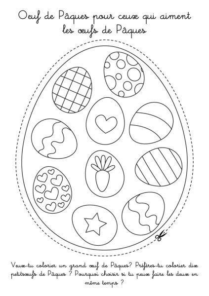 Coloriage À Imprimer : Oeuf De Pâques À Découper Avec Mini concernant Dessin A Decouper