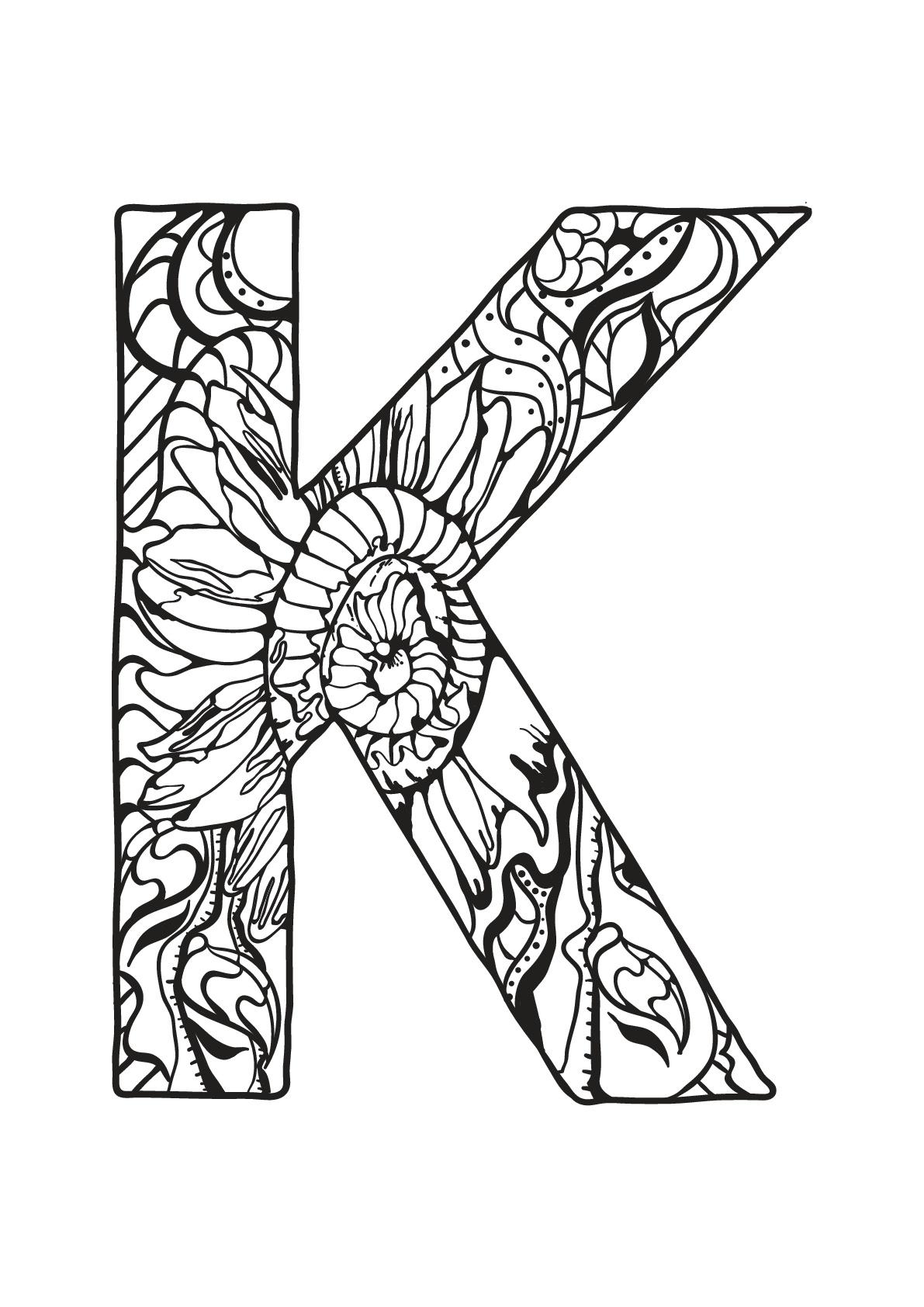 Coloriage-Alphabet-Lettre-K   Moncoloriage.fr tout Lettre De L Alphabet A Imprimer Et Decouper