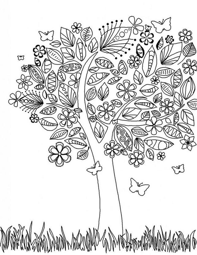 Coloriage Anti-Stress Printemps : Arbre Au Printemps 1 concernant Dessin Arbre Printemps