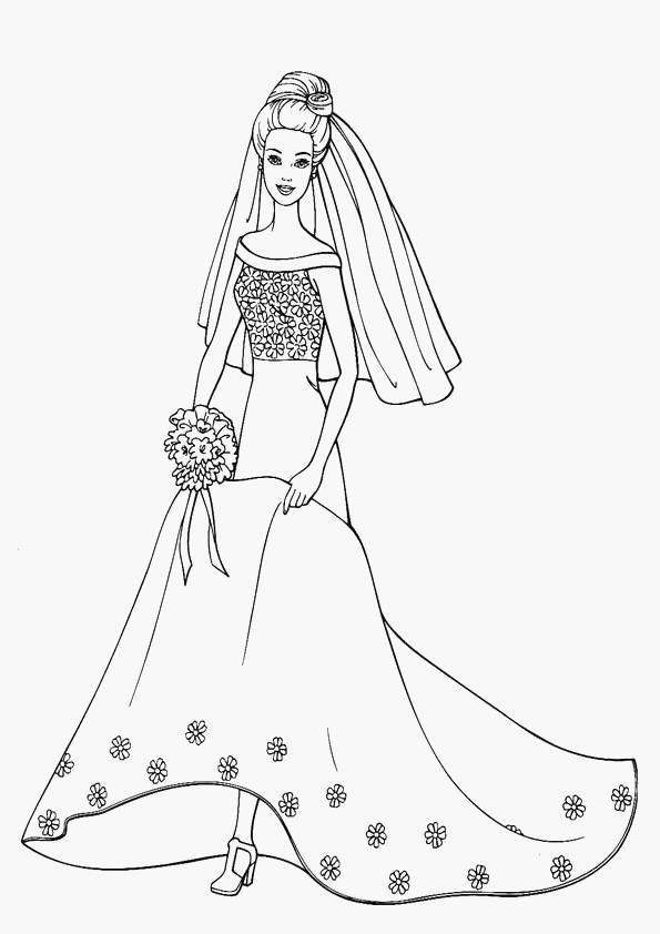 Coloriage Barbie En Robe De Mariée Dessin Gratuit À Imprimer pour Coloriage De Mariée