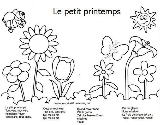 Coloriage Chanson - Dessin Et Coloriage à Poésie Printemps Maternelle