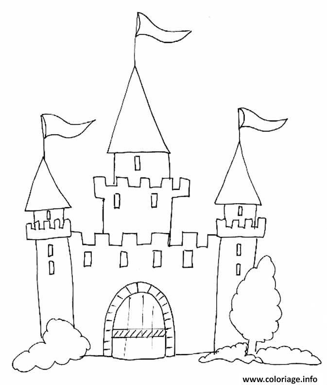Coloriage Chateau Fort Maternelle Enfant Dessin Chateau À dedans Dessin Chateau Fort Moyen Age