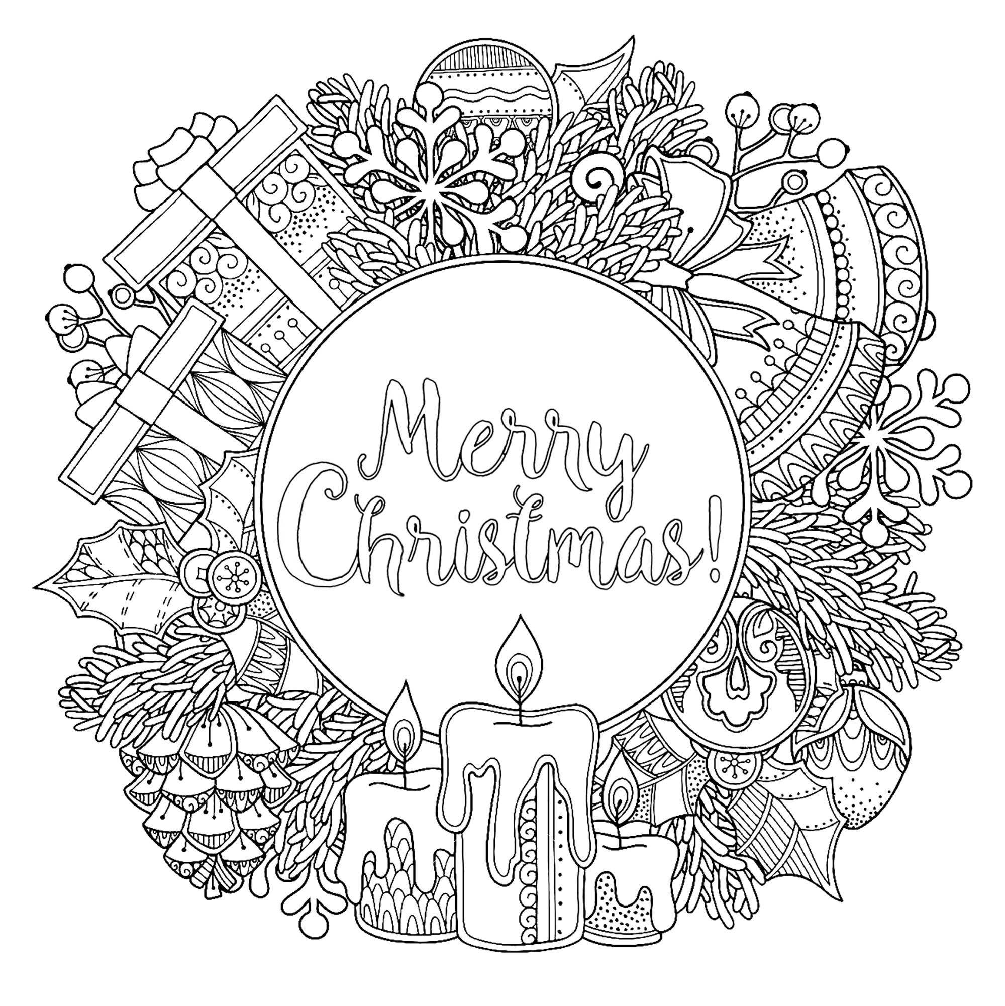 """Coloriage Circulaire """"Merry Christmas"""" - Noël - Coloriages pour Couronne À Colorier"""