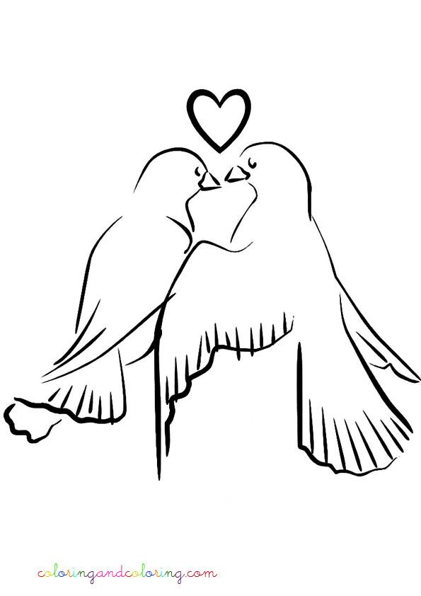 Coloriage Colombe Amoureux Vecteur Dessin Gratuit À Imprimer destiné Image De Colombe Pour Mariage