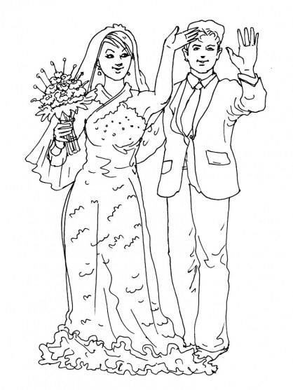 Coloriage Couple Marié Couleur Dessin Gratuit À Imprimer avec Coloriage De Mariée