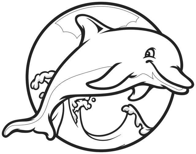 Coloriage Dauphin Dans Un Cercle Dessin Gratuit À Imprimer encequiconcerne Dessin Dauphin A Imprimer