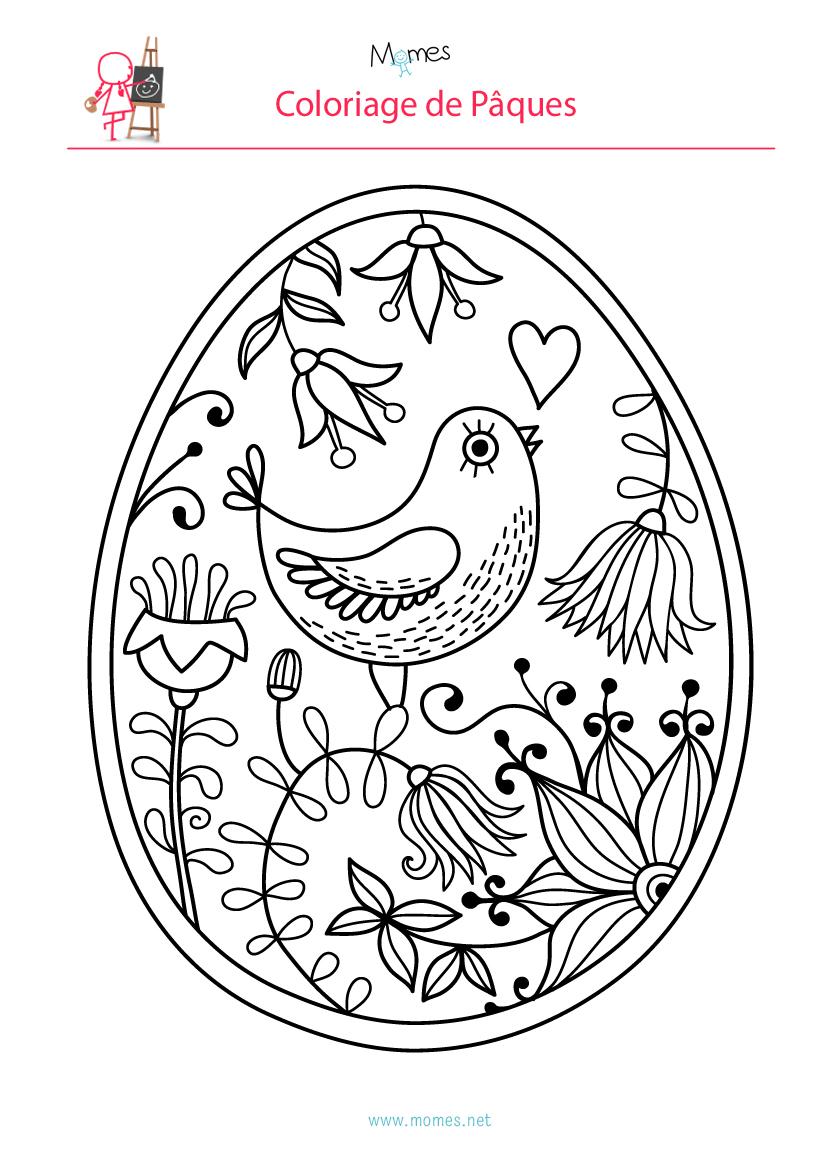 Coloriage De L'Oeuf De Pâques À L'Oiseau | Momes serapportantà Coloriage De Paques A Imprimer
