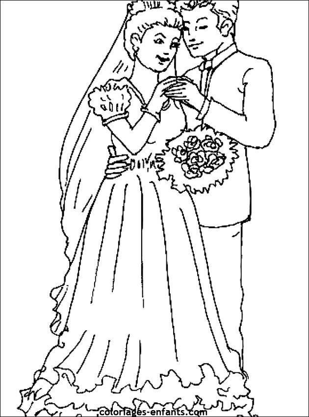 Coloriage De Mariage À Imprimer Sur Coloriages-Enfants dedans Coloriage De Mariée