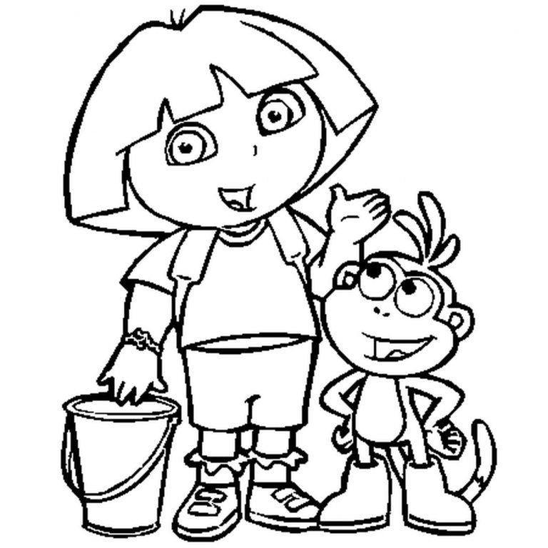 Coloriage Dora A Faire En Ligne. Dora_Coloriage_03. Dora intérieur Coloriage Dora Princesse