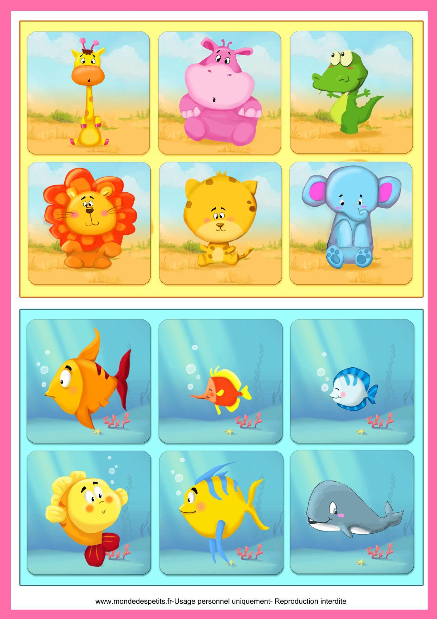 Coloriage - Jeu De Loto À Imprimer: Les Animaux | Diy Kids à Jeux Enfant Maternelle