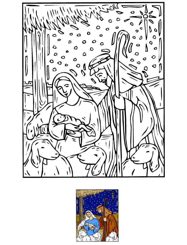 Coloriage, La Crèche De Noël - Tipirate serapportantà Creche A Imprimer