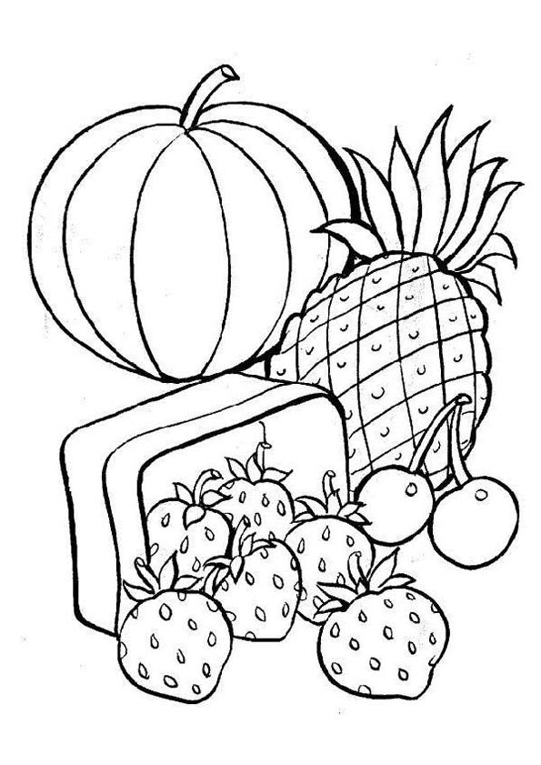 Coloriage Légumes Et Fruits De Printemps Dessin Gratuit À tout Fruit A Dessiner