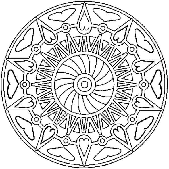 Coloriage Mandala Coeurs En Ligne Gratuit À Imprimer encequiconcerne Coloriage En Ligne Mandala