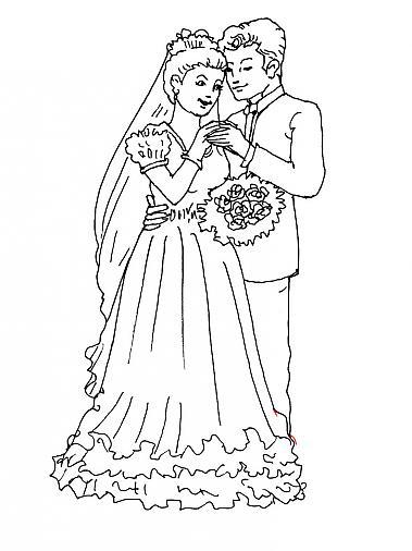 Coloriage Mariage encequiconcerne Coloriage De Mariée