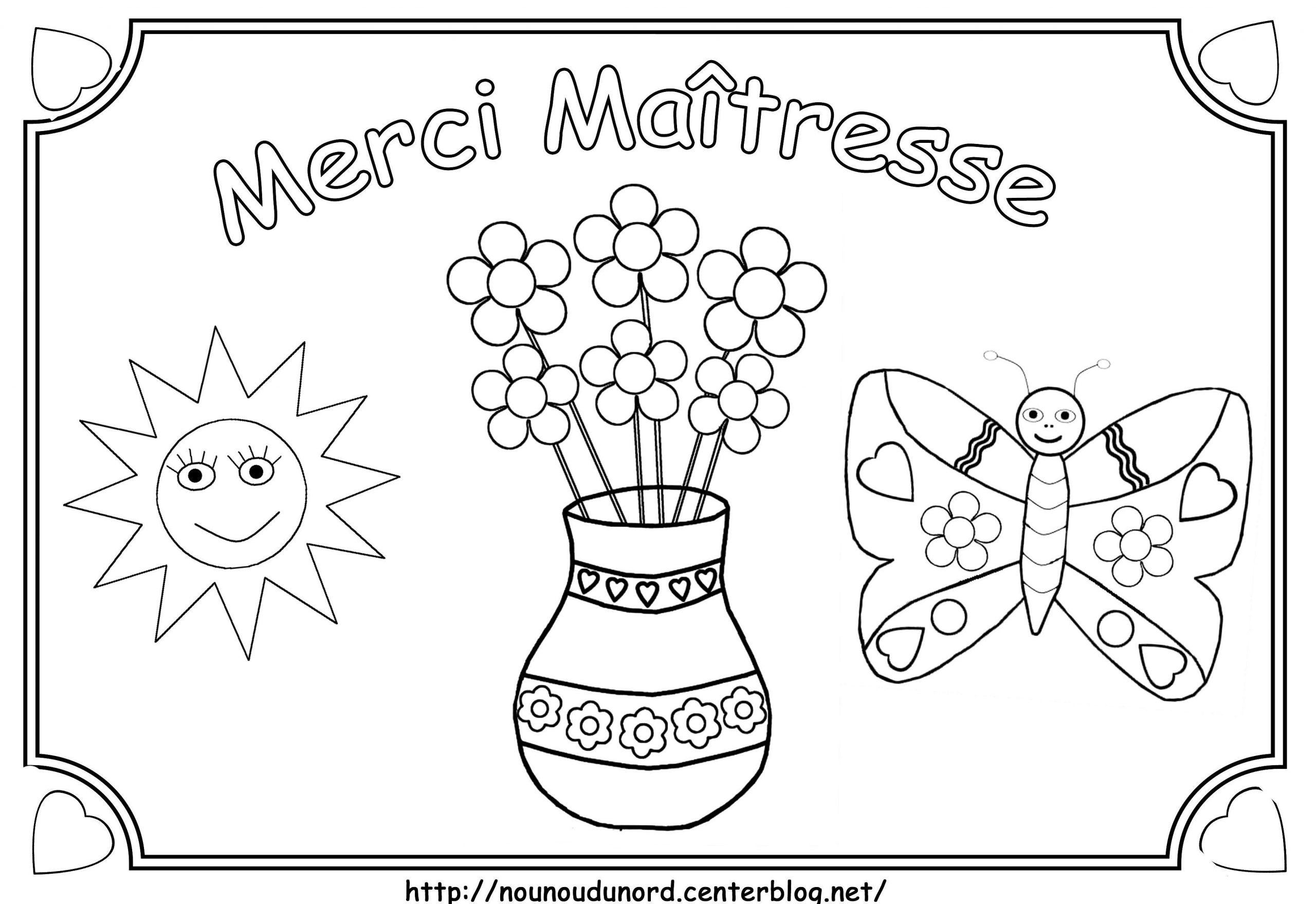 Coloriage Merci Maîtresse pour Poeme Pour Maitresse D Ecole