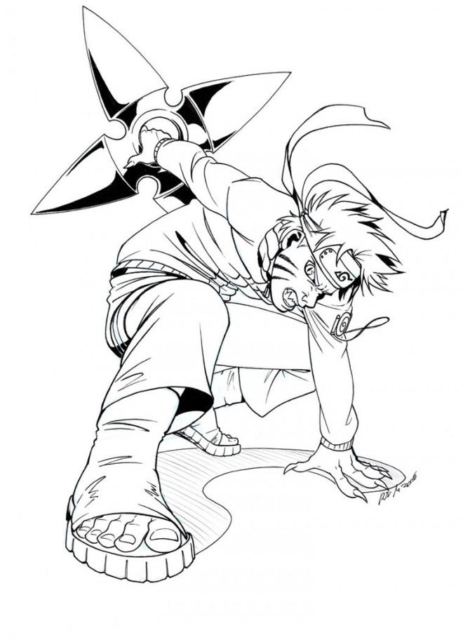 Coloriage Naruto Uzumaki Porte Son Arme Facile Dessin tout Coloriage De Naruto Shippuden A Imprimer