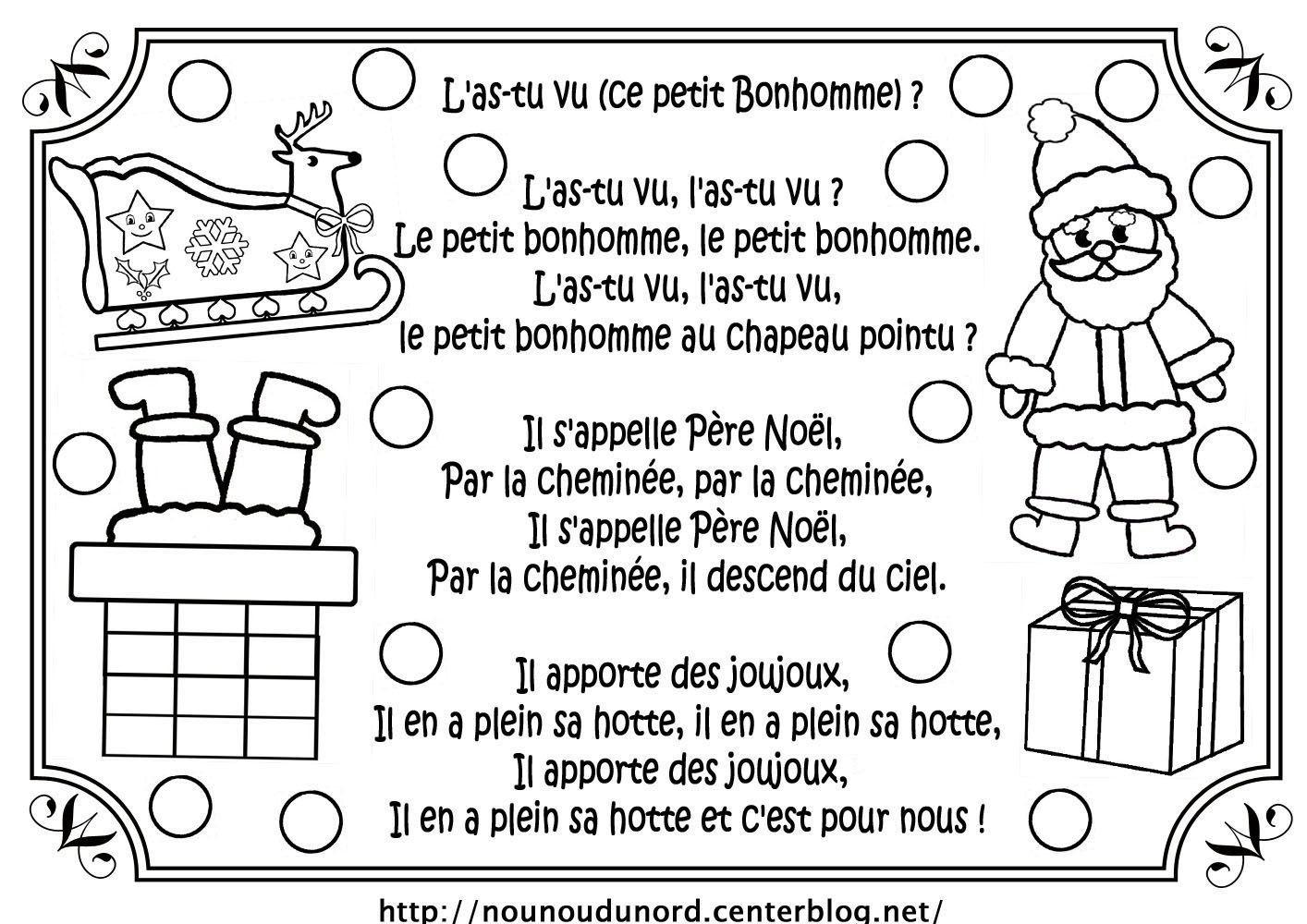 Coloriage Noel Comptine Chanson serapportantà Petit Papa Noel Chanson Avec Parole