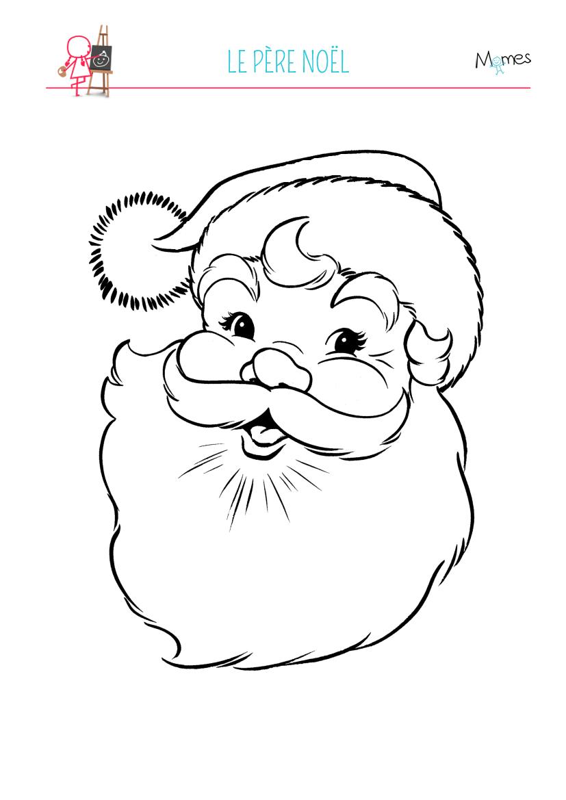 Coloriage Père Noël   Momes intérieur Dessin A Decouper Et A Imprimer
