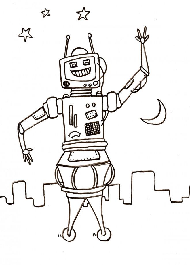 Coloriage Robot En Ville Au Crayon Dessin Gratuit À Imprimer pour Coloriage Robot À Imprimer
