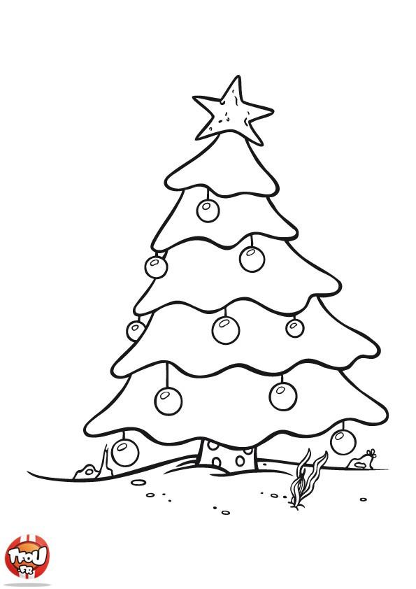 Coloriage Sapin De Noël Enneigé Dessin Gratuit À Imprimer intérieur Coloriage De Sapin De Noel A Imprimer Gratuit