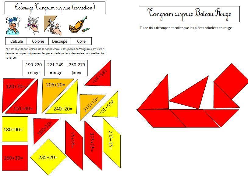 Coloriage Tangram Magique Calcul Ce1 | Ce1, Ce1 Ce2 serapportantà Dessin Tangram