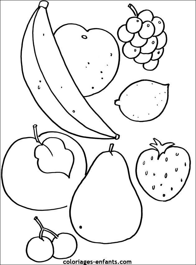Coloriages De Fruits Et Légumes   Coloriage Fruits à Dessin Fruits D Automne