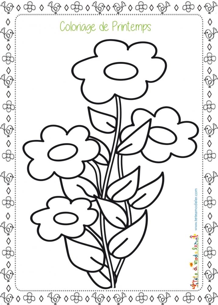 Coloriages De Printemps encequiconcerne Coloriage Fleurs Printemps