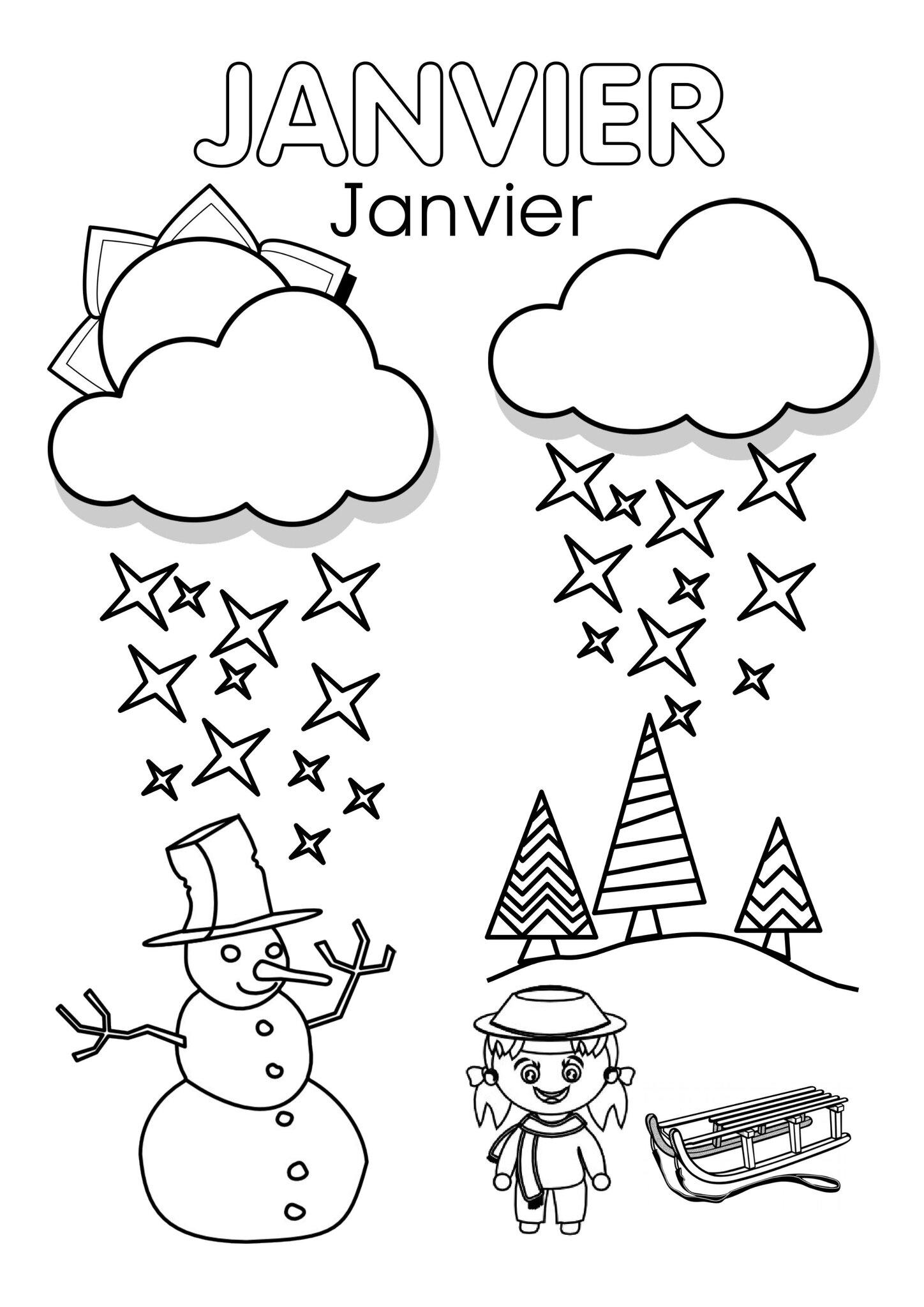 Coloriages Janvier - Assistante Maternelle Argenteuil pour Coloriage Février